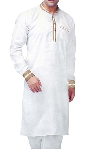 Indian Clothes for Men White Sherwani Linen Kurta Pyjama Designer Nehru Collar