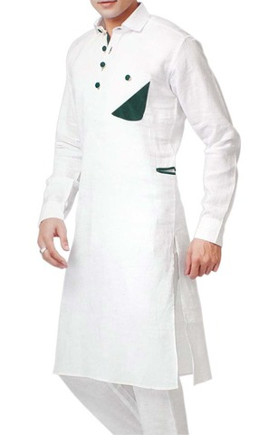 Indian Clothes for Men White Kurta Pyjama Green Patch Work Linen Kurta