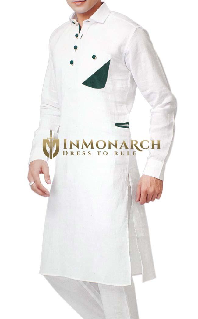 Indian Clothes for Men White Kurta Pyjama Green Patch Work Linen Kurta