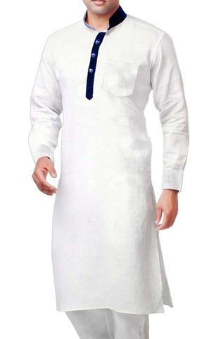 Sherwani for Men White Kurta Pyjama Mandarin Collar Linen Kurta Pajama