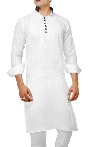 Mens Indian Kurta White Kurta Pyjama Full Sleeve Linen Sherwani