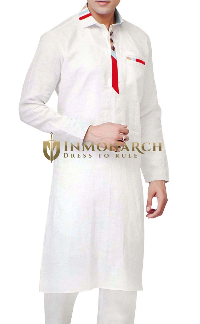 Sherwani for Men White Kurta Pyjama Linen Kurta Pajama Indian Kurta