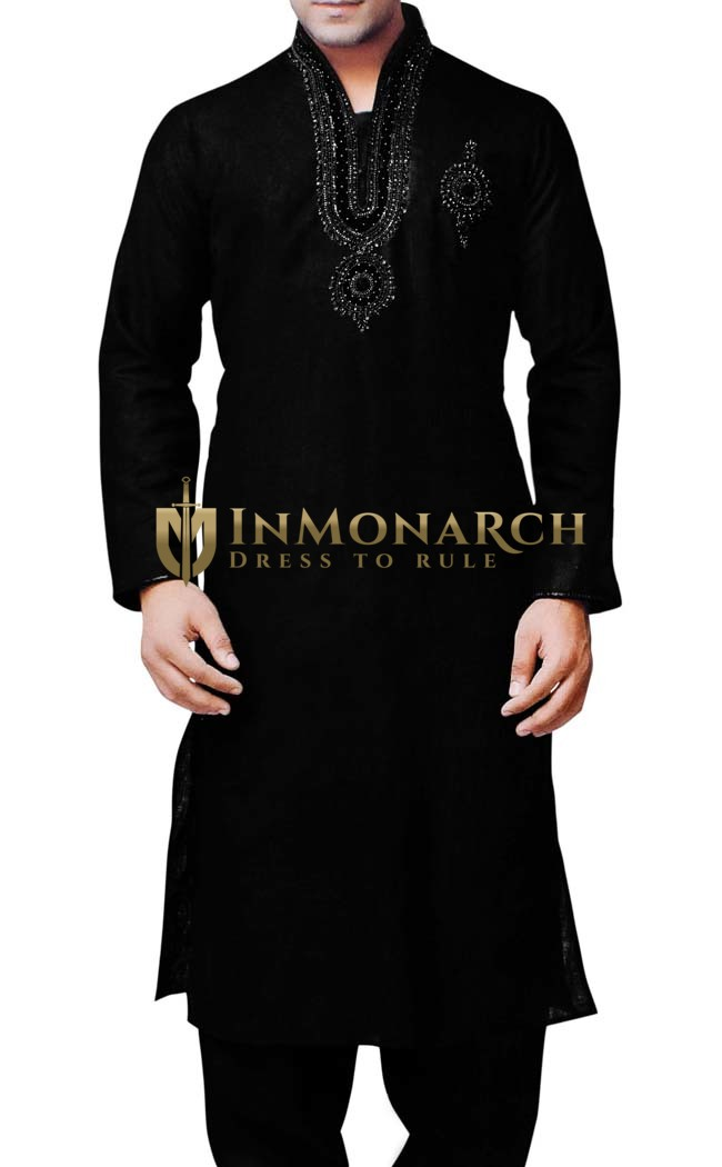 Indian Clothes for Men Black Sherwani Linen Kurta Pyjama Embroidered Work