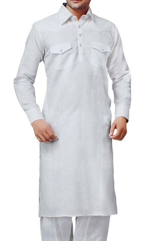 Indian Clothes for Men White Linen Kurta Pyjama Two Chest Pocket Indian Kurta