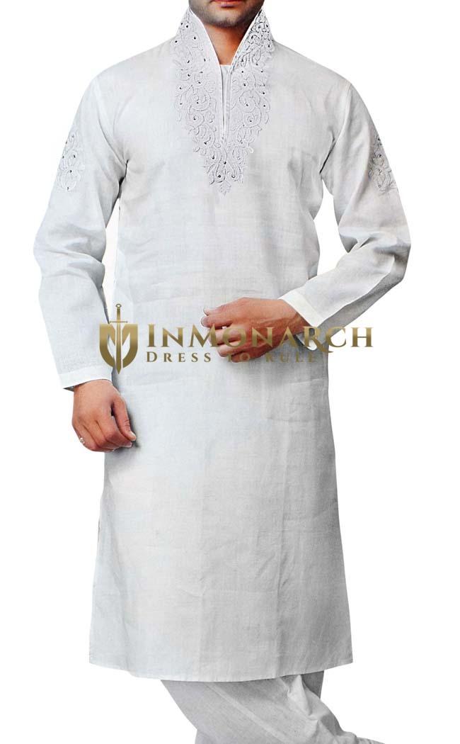 Mens White Kurta Pajama Linen Kurta Pyjama Embroidered Partywear Sherwani