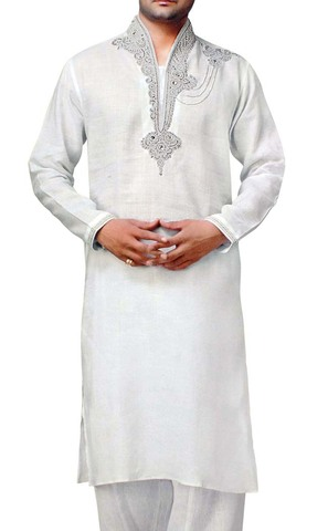 Mens White Indian Kurta Linen Kurta Pyjama Hand Embroidery Sherwani