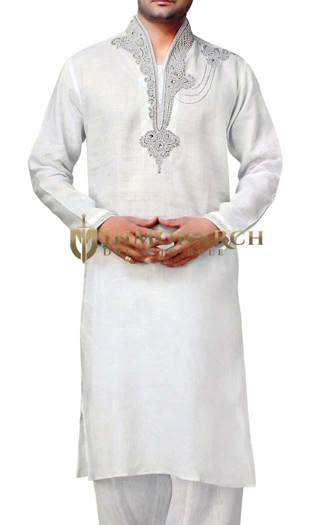 Mens White Indian Kurta Linen Kurta Pyjama Hand Embroidery Sherwani