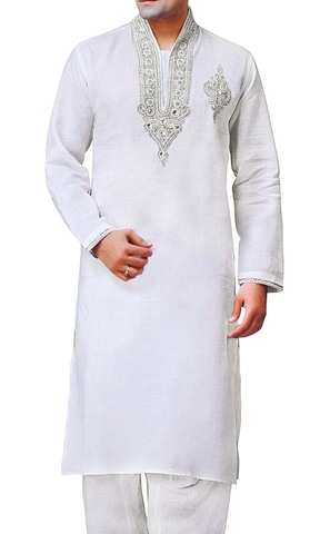 Mens White Linen Kurta Pyjama Neck Embroidered