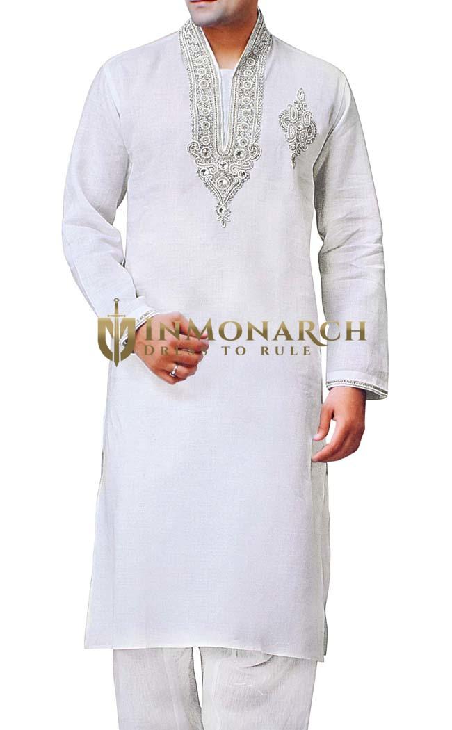 Mens White Sherwani for Men Kurta Pyjama Neck Embroidered Linen Kurta Pajama