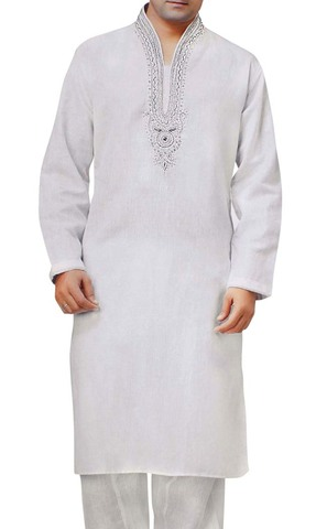 Mens White Linen Kurta Pyjama Bollywood Outfit