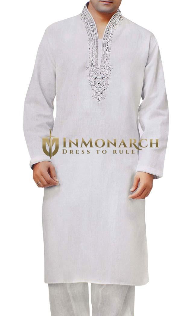 Mens White Sherwani Linen Kurta Pyjama Bollywood Outfit Indian Clothes