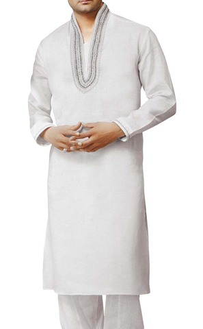Kurta Pajama for Men White Kurta Pyjama High Neck Collar Linen Kurta Pajama