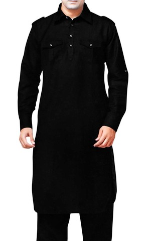 Indian Clothes for Men Black Kurta Pyjama Safari Style Indian Linen Kurta