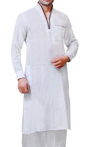 Mens White Linen Kurta Pyjama V Neck Pattern