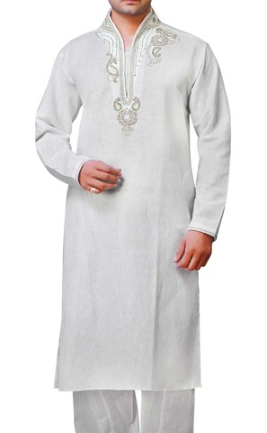 Mens White Linen Kurta Pyjama Embroidered Collar