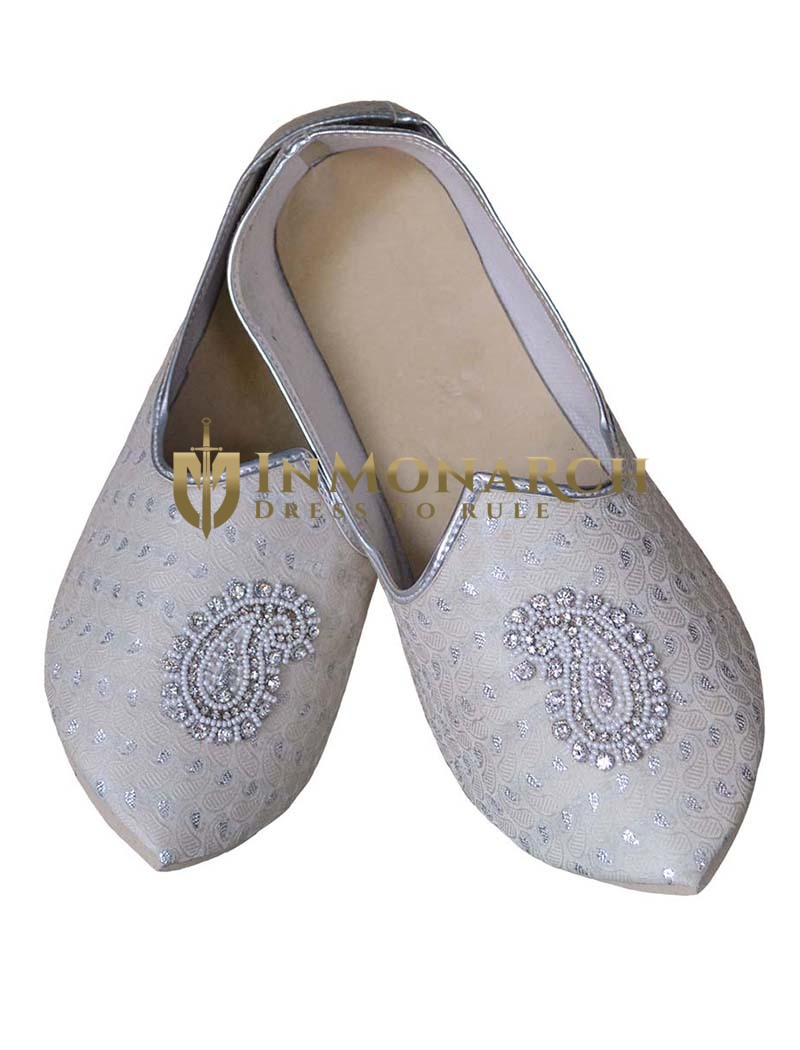 Indian Mens Shoes Silver Wedding Shoes Paisley Embroidered