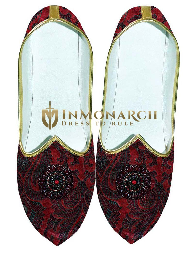 Mens Maroon Wedding Shoes Embroidered