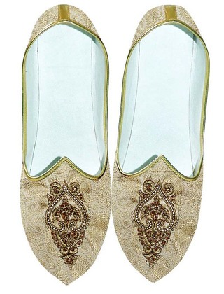 Mens Indian Bridal Shoes Beige Wedding Shoes Hand Embroidered Wedding Shoes