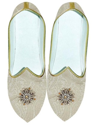 Indian Wedding Shoes For Men Cream Wedding Shoes Machine Embroidered