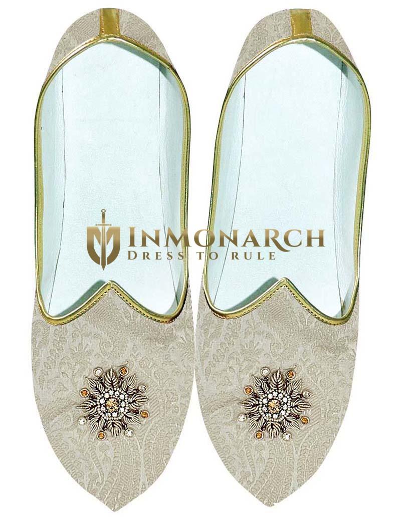 Mens Cream Wedding Shoes Machine Embroidered
