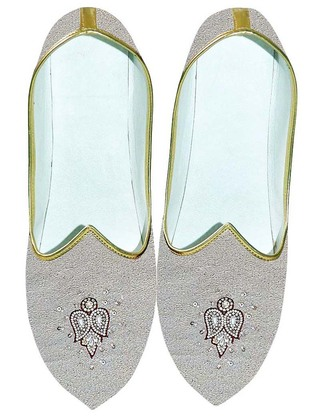 Mens Natural Wedding Shoes Embroidered