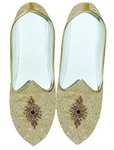 Mens Golden Brocade Wedding Shoes Bollywood Style