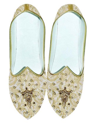 Juti For Men Cream and Golden Wedding Shoes Embroidered
