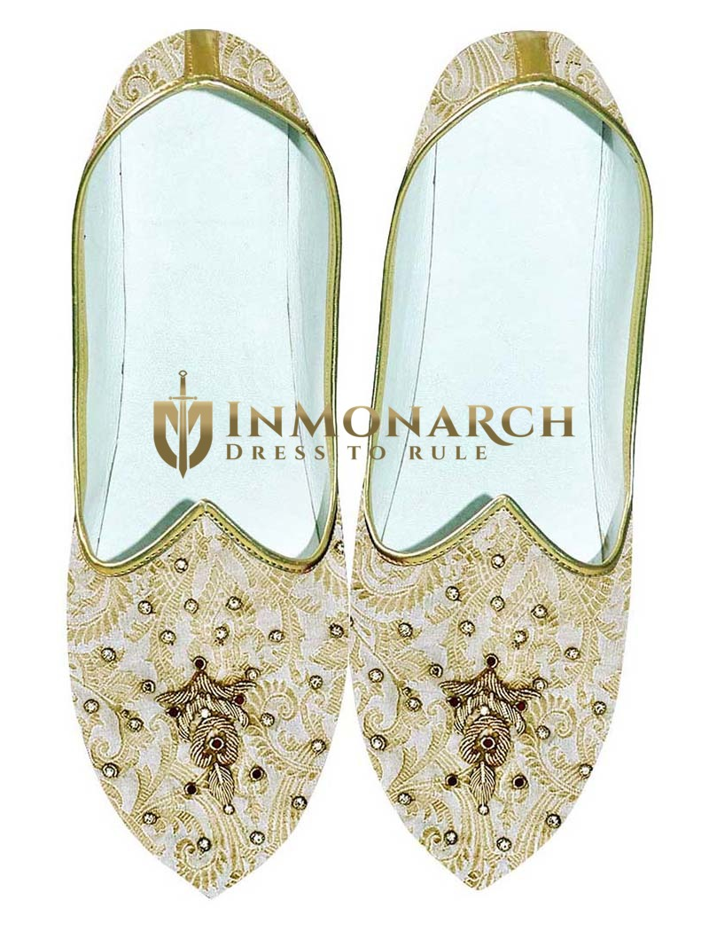 Mens Cream and Golden Wedding Shoes Embroidered