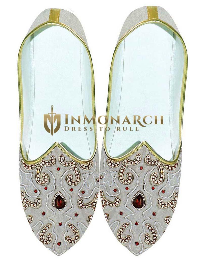 Mens Cream Brocade Wedding Shoes For Groom