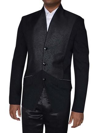 Mens Black Jacket Trendy V-Neck 3 Button