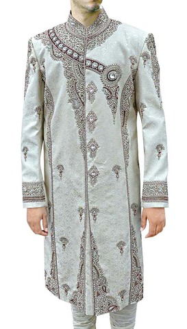 Mens Cream 2 Pc Sherwani Royal Groom Designer