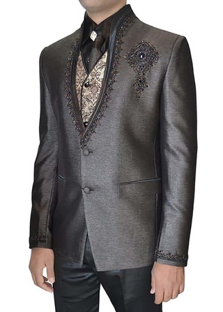 Mens Gray Polyester 6 pc Tuxedo Suit Embroidered