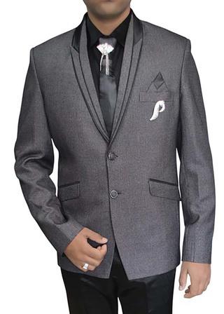 Mens Gray Polyester 7 pc Tuxedo Suit Peak Lapel