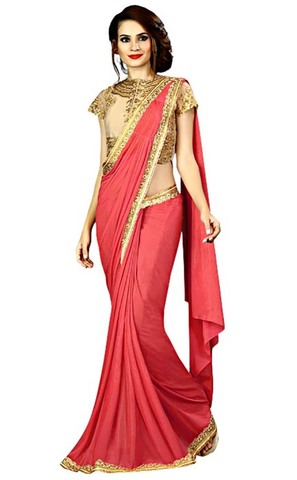 Beige and Crimson Red Fancy Knit Saree