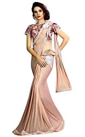 Light Pink Fancy Knit Cocktail Party Saree