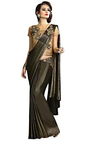 Black and Sand Brown Fancy Knit Lehenga Sari