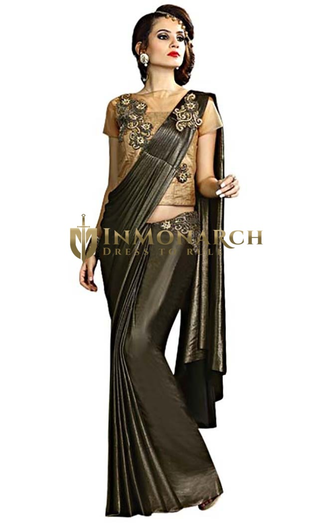 Black and Sand Brown Fancy Knit Lehenga Sari