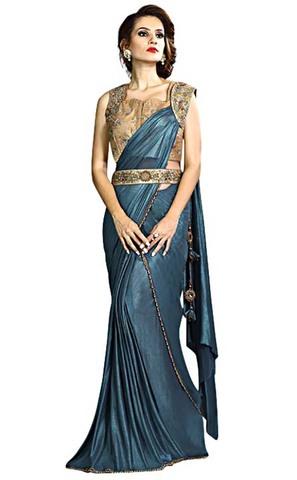 Aqua Blue Fancy Knit Lehenga Style Saree