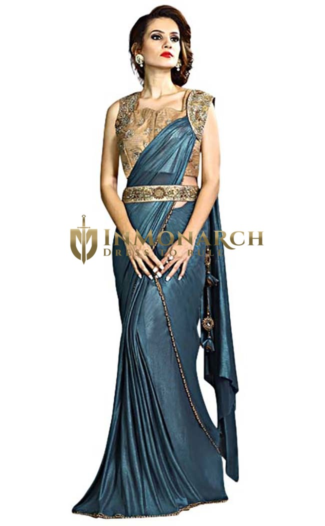 Aqua Blue Fancy Knit Lehenga Style Saree