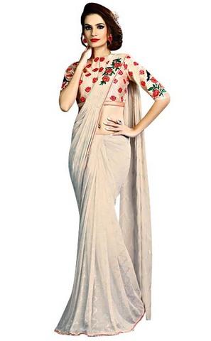 Ivory Fancy Knit Indian Wedding Saree