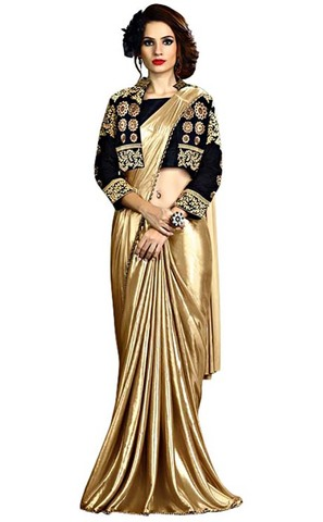 Golden and Black Fancy Knit Bridal Saree