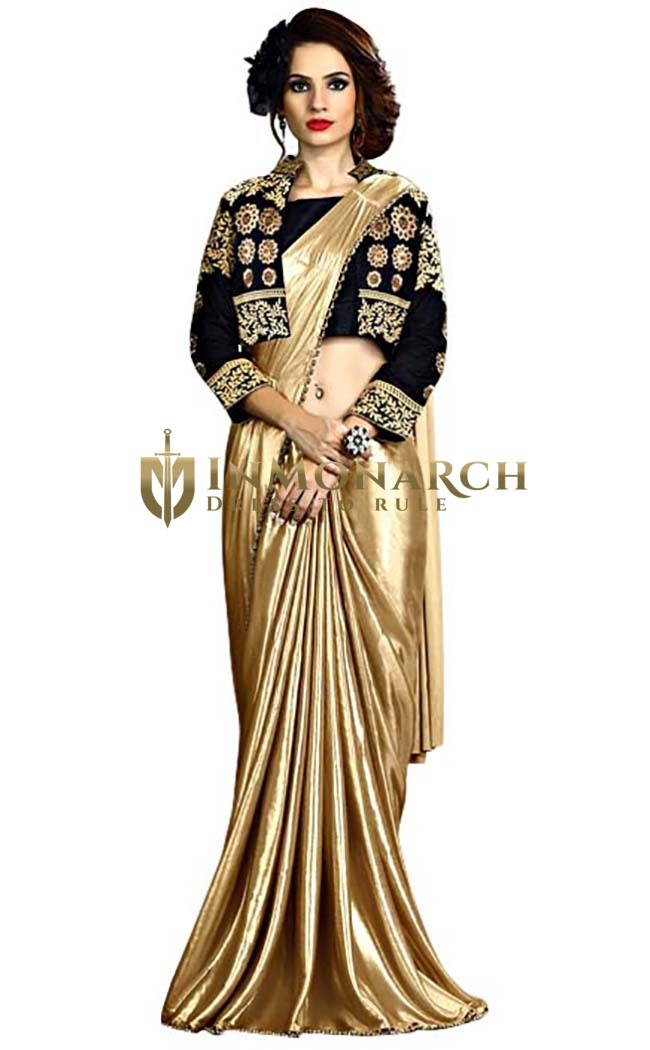 Golden and Black Fancy Knit Bridal Saree