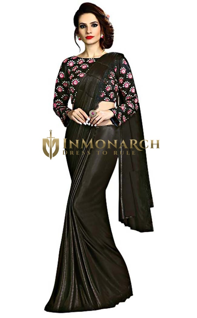 Black Fancy Knit Partywear Saree