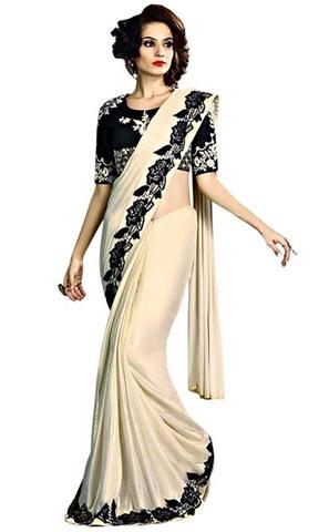 Ivory and Black Fancy Knit Wedding Saree