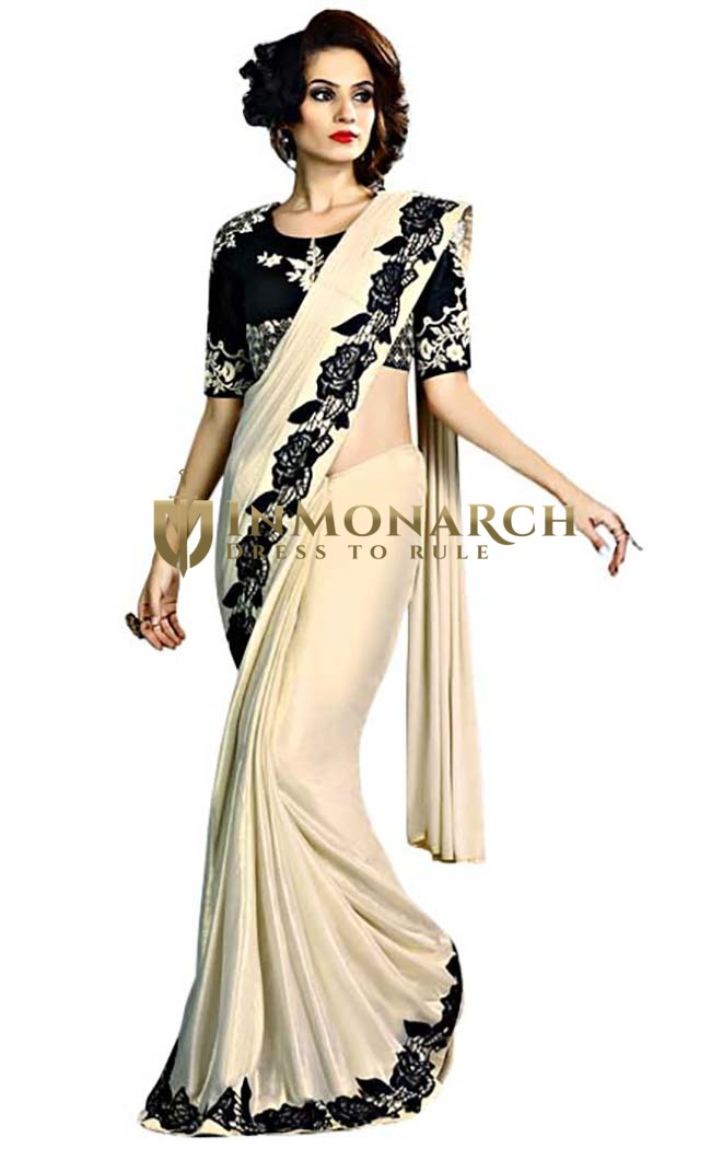 Ivory and Black Fancy Knit Wedding Saree