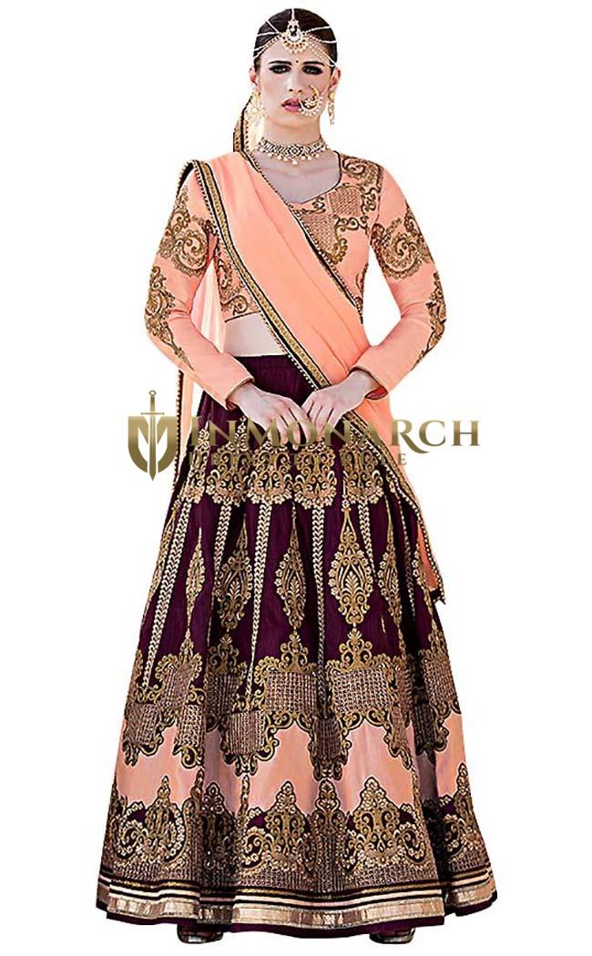 Peach and Magenta Art Silk Lehenga Choli