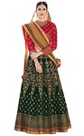 Green and Magenta Art Silk Wedding Lehenga