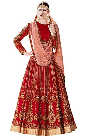Crimson Royal Art Silk Bridal Lehenga