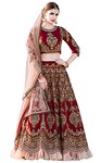 Maroon Art Silk Indian Wedding Lehenga