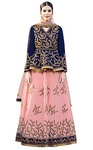 Pink and Navy Blue Art Silk Lehenga Choli